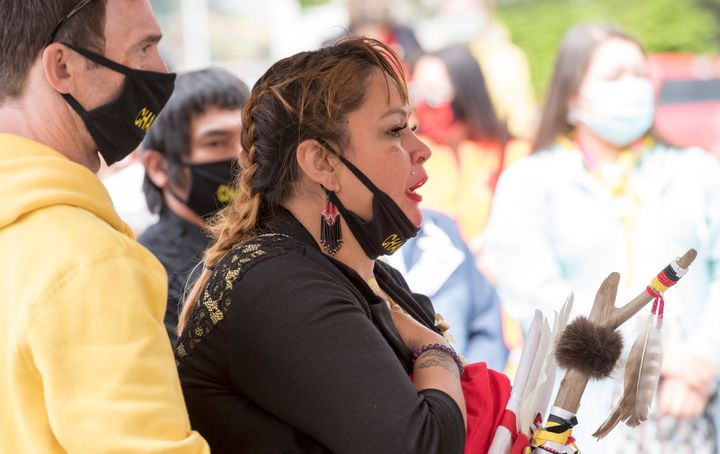 Chantel Moore's mother Martha Martin reacts during a healing ceremony in Edmundston, N.B. on June 13, 2020.