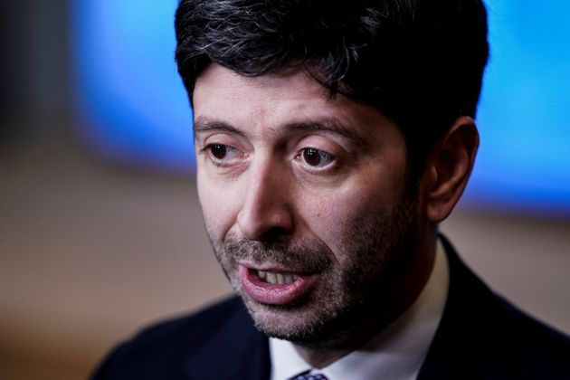 Italian Minister of Health Roberto Speranza answers journalists questions as he leaves EU health ministers...