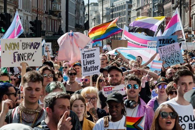 Thousands of transgender people and their supporters take part in London's first ever Trans Pride march...