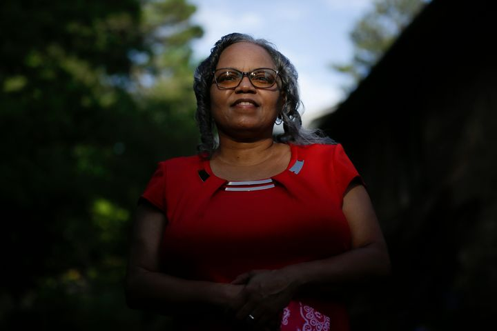 In this Monday, June 8, 2020, file photo, Dorothy Griffin, of Atlanta, poses for a portrait in Atlanta. Blind voters like Gri