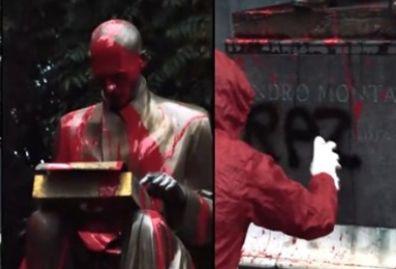 Studenti rivendicano lo sfregio della statua di Montanelli: