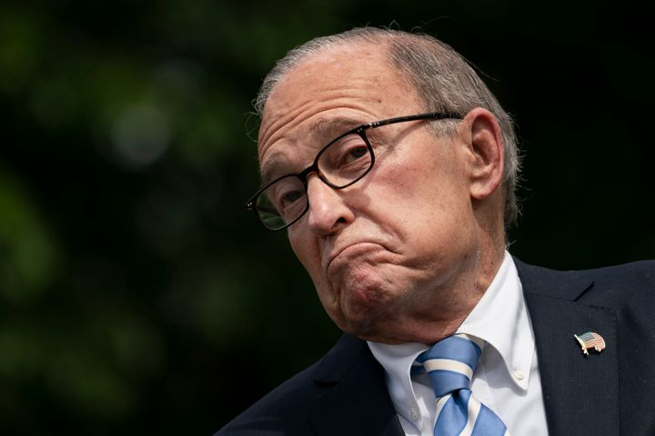 Larry Kudlow, director of the U.S. National Economic Council, speaks to reporters outside White House on May 15.
