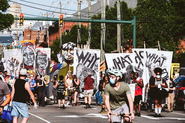 Hundreds of people turned out for the BLACK PRIDE RVA March to protest police killing George Floyd and...