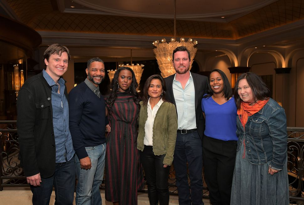 Writers Dan Nowak and David Shanks (from left), actor Clare-Hope Ashitey, creator and executive producer Veena Sud, actor Mic