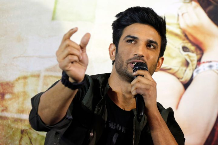 """In this May 30, 2017 file photo, Bollywood actor Sushant Singh Rajput speaks during a press conference to promote his movie """""""