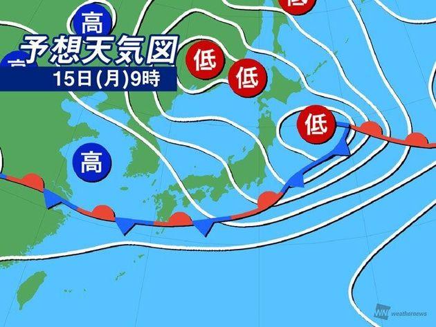 予想天気図 15日(月)9時