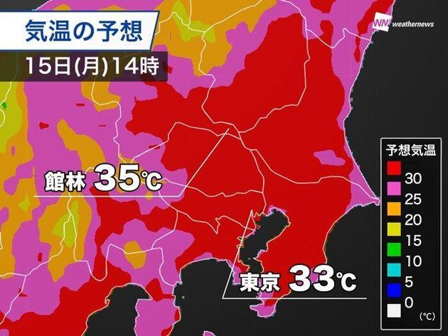 気温の予想 15日(月)14時
