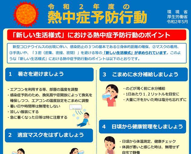 環境省などが公表した熱中症予防のポイント