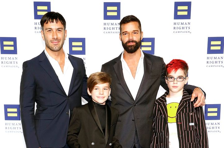 """Martin with his husband, Jwan Yosef (left), and their sons Matteo and Valentino. """"Every decision I make is based on the fact"""