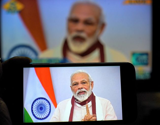 Prime Minister Narendra Modi's address on the Covid19 crisis seen on a