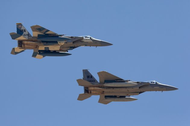Two US F-15 fighter jets, pictured here in