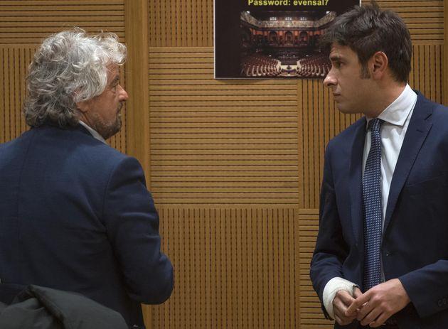 Il leader del Movimento 5 stelle, Beppe Grillo, e Alessandro Di Battista durante la conferenza M5S sull'acqua...
