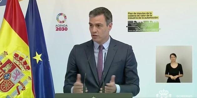 Pedro Sánchez, presentando el Plan de impulso de la cadena de valor de la industria de la automoción...