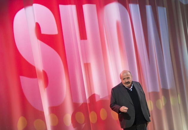 Maurizio Costanzo durante la puntata del 'Maurizio Costanzo Show' presso gli Studios Lumina a Roma, 26...