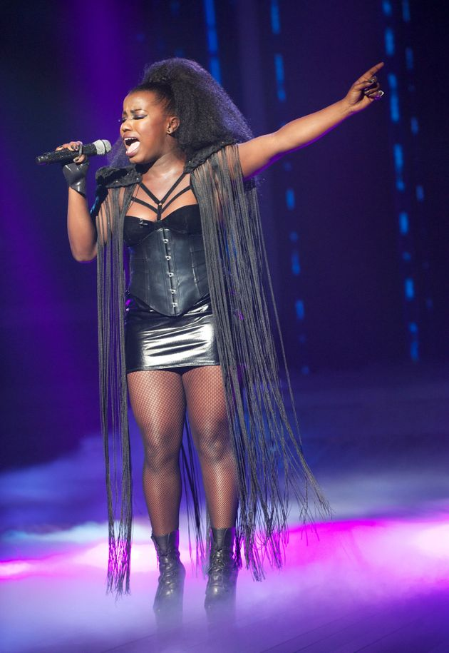 Misha B performing on The X Factor in