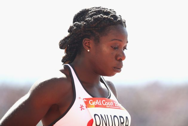 GOLD COAST, AUSTRALIA - APRIL 09: Anyika Onuora of England looks on as she prepares to compete in the...