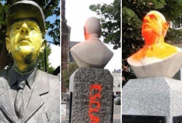 À qui s'en prennent ceux qui vandalisent les statues? (Ici deux statues du Général...