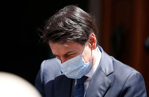 The Italian Prime Minister Giuseppe Conte with mask to protect himself from the Coronavirus emergency...