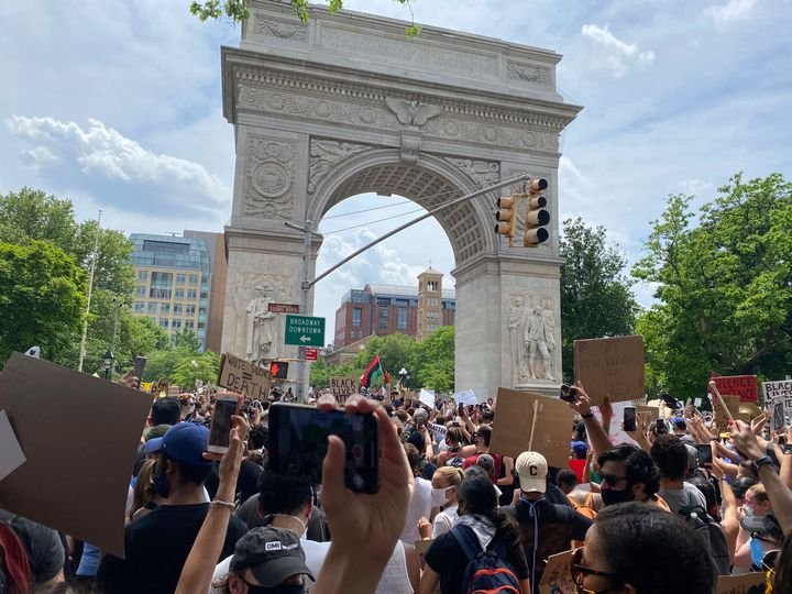 A Black Lives Matter protest gathers at Washington Square Park in New York City on June 6, 2020
