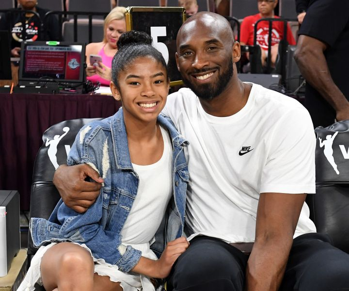 Gianna Bryant and her father Kobe Bryant, at the WNBA All-Star Game on July 27, 2019 in Las Vegas.