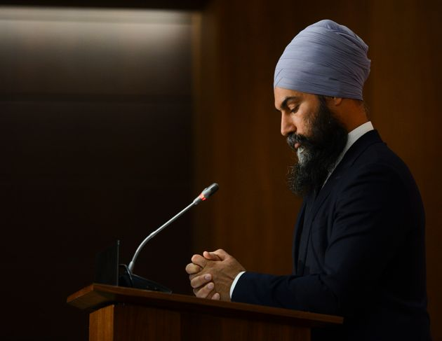 NDP Leader Jagmeet Singh is seen here during a news conference in Ottawa on Monday. The NDP has been...