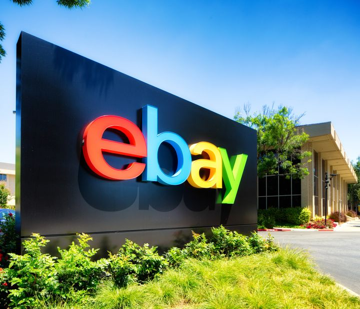 San Jose, USA - May 9, 2016: Ebay south campus entrance sign in San Jose California. Oblique view with campus building behind