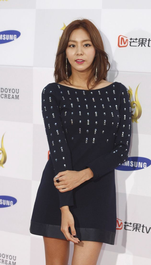 South Korean girl group 'After school' member, singer and actress U-IE arrives for the 2015 annual Seoul...