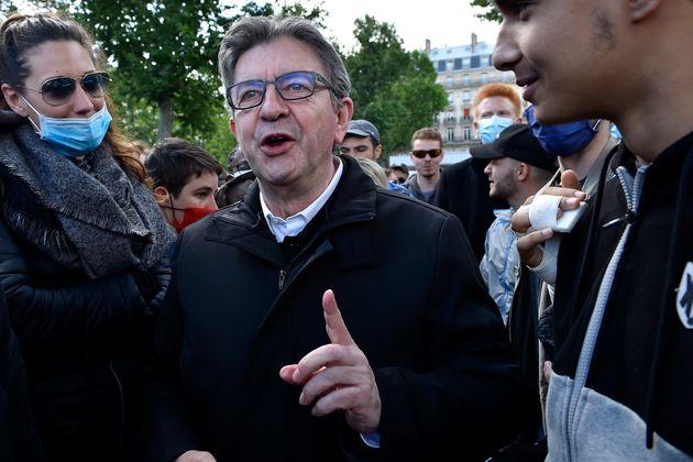 Jean-Luc Mélenchon lors de la manifestation contre les violences policières le 9 juin à