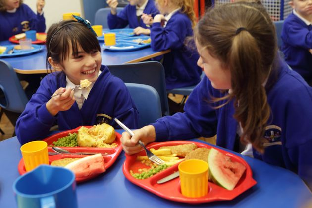 Children eating lunch at