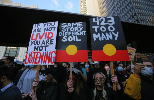 Protesters in Sydney show solidarity with Black Lives Matter demonstrations in the U.S. and rally to...