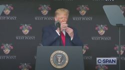 Drink In James Corden's Mini Montage Of Trump Weirdly Drinking