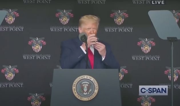 The president -- just normally using two hands to drink a glass of water. Nothing to see