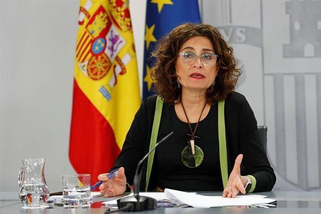 La ministra portavoz, María Jesús Montero, este martes en rueda de