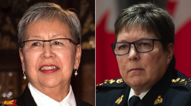 Sen. Lillian Dyck, left, and RCMP Commissioner Brenda Lucki are seen here in December 2017 and April...
