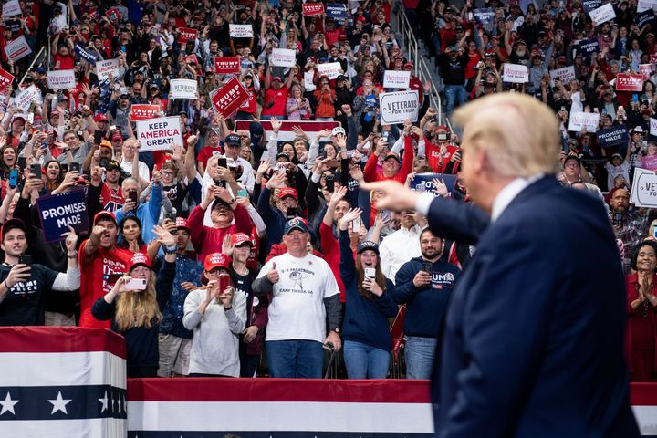 President Donald Trump arrives at a rally at Bojangles' Coliseum on March 2, 2020, in Charlotte, North Carolina.