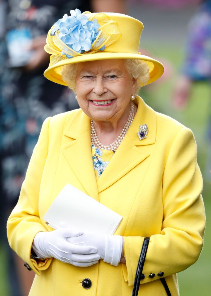 Queen Elizabeth II watches her horse 'Fabricate' run in the Wolferton Stakes on day 1 of Royal Ascot on June 19, 2018.