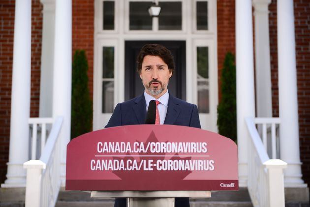 Prime Minister Justin Trudeau holds a press conference from Rideau Cottage in Ottawa on June 16,