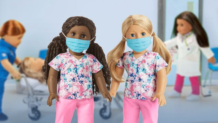American Girl dolls sport the new scrubs outfit as part of the brand's #ThankYouHeroes program.