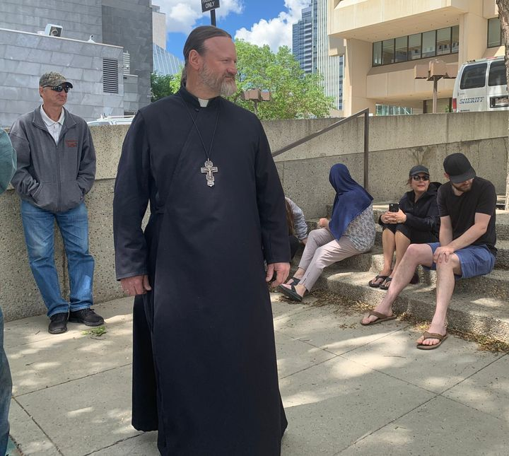 Father Mark Sych was at the Edmonton courthouse in support of Anthony Bilodeau and his family.