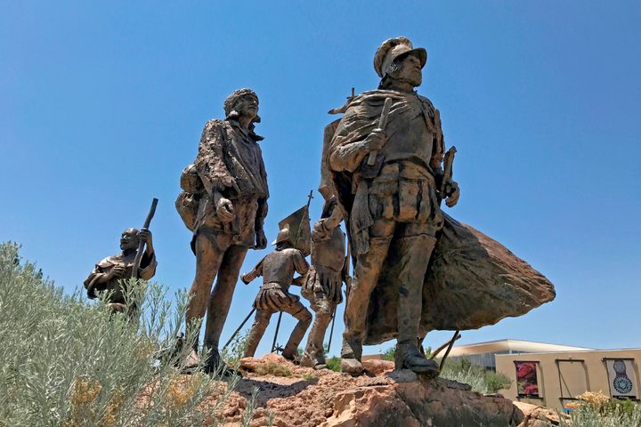 This bronze statue of Don Juan de Oñate leading a group of Spanish settlers from an area near what is now Ciudad Chihu
