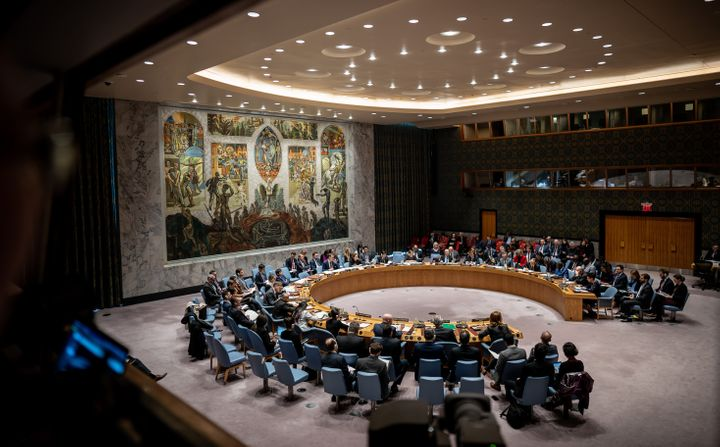 Members of the UN Security Council advise on the humanitarian situation in Syria during ameeting on Feb. 27, 2020.