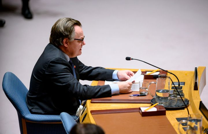 Canada's ambassador to the UN, Marc-Andre Blanchard speaks to the United Nations Security Council meeting on the situation in Venezuela on Jan. 26, 2019 at the United Nations in New York.