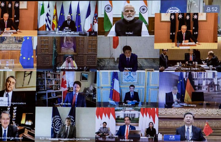 A view of members taking part on screen during an emergency G20 virtual summit to discuss the coronavirus crisis on March 26, 2020.