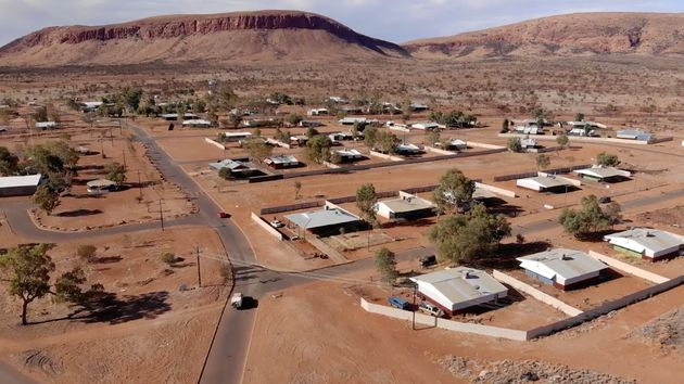 An aerial shot of the Warakurna community in the beautiful Ngaanyatjarra
