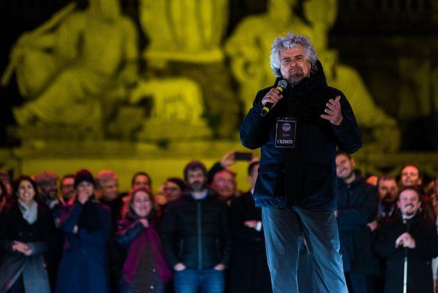 Five Star Movement (Movimento Cinque stelle) political party co-founder Beppe Grillo attends a political...