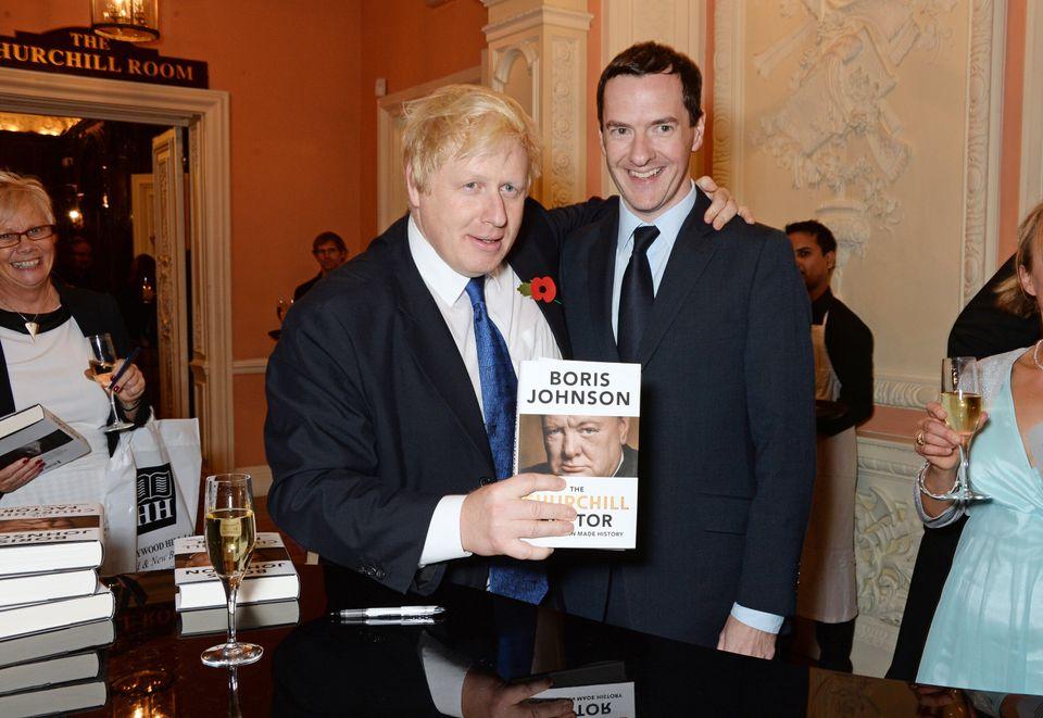 Boris Johnson - then London mayor - and George Osborne at the book launch of Johnson's Churchill biography in 2014
