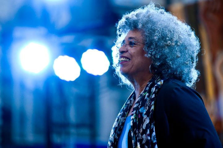 Angela Davis, at a rally in front of the University of the Republic, in Montevideo, Uruguay, in 2019. Davis is a high-profile