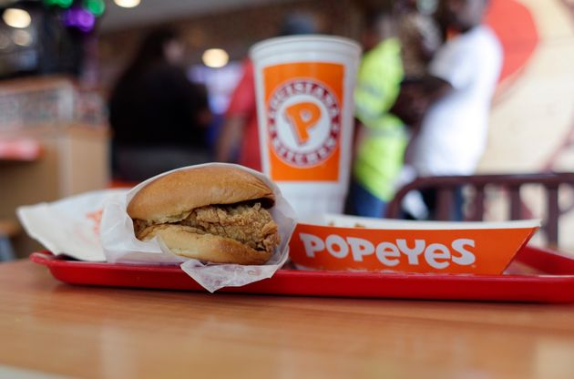 A Popeyes chicken sandwich is seen here in Texas in 2019. The popular food item could be rolled out across...