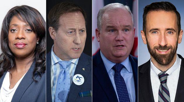 Conservative leadership hopefuls Leslyn Lewis, Peter MacKay, Erin O'Toole, and Derek Sloan are shown...