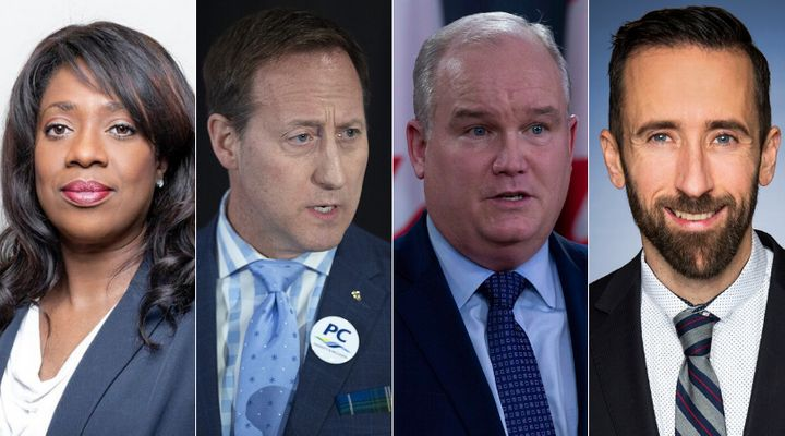 Conservative leadership hopefuls Leslyn Lewis, Peter MacKay, Erin O'Toole, and Derek Sloan are shown in a composite of images from The Canadian Press and Facebook.